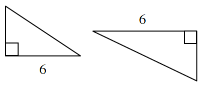 Two right triangles with bottom sides of 6.