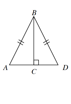 Triangle A, B, D. Two internal triangles are created by a line segment B, C drawn from the upper vertex to the base at right angles. Side A, B and B, D are equal.