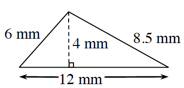 A triangle with sides labeled as follows: left side, 6mm, right side, 8.5 mm, bottom, 12 millimeters, with a dashed line segment, labeled 4 mm, from the top vertex, to the bottom, at right angles.
