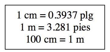 Text Box: 1 cm = 0.3937 in.  1 m = 3.281 ft  100 cm = 1 m