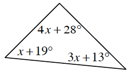 A triangle with three labeled interior angles: top angle is 4 X + 28 degrees, lower left angle is X + 19 degrees, and lower right angle is 3 X + 13 degrees.