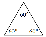 A triangle with three equal interior angles of 60 degrees.