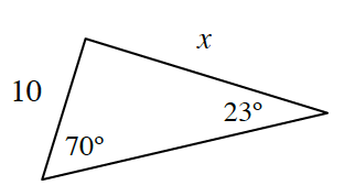 Triangle, left side labeled 10, right side labeled, x, angle opposite left side, labeled 23 degrees, angle opposite right side, labeled 70 degrees.