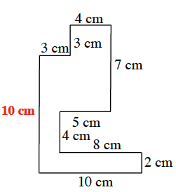 Unknown side length for the figure is added, 10 centimeters.