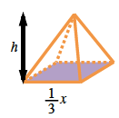Rectangular pyramid, with rectangle base, shaded, and side labeled, 1 third, x, and distance from vertex to base, labeled h.