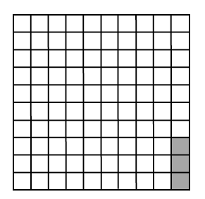A 10 by 10 block of 100 where 3 squares in one columns are shaded.