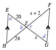 Two parallel line segments, H, E, and F, G,  with connecting lines, E, G, and J, H intersecting at point, Z, forming 2 triangles, H, E, Z, and Z, F, G. Side, E, Z, is 20. Side, H, Z, is 24. Side Z, F, is x + 2. And side, Z, G, is, x.  The angle opposite side, H, Z, is, a. The angle opposite the parallel side in triangle H, E, Z, is, b. The angle opposite side, x + 2, is, d. The angle opposite the parallel side in triangle F, G, Z, is, c.