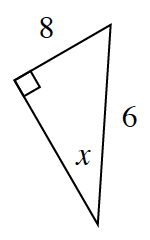 A right triangle with a leg of 8 and hypotenuse of 6. Angle x is opposite the side, 8.