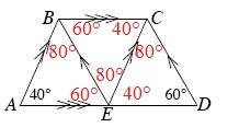 Angle E, B, C, is 60 degrees. Angle B, C, E, is 40 degrees.