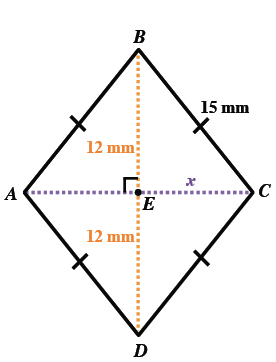 A, B, C, D, is a rhombus with side length 15 mm and B, D equals, 24 millimeters. Dotted lines B, D and A, C intersect in the middle at point, E. Lines B, E and E, D are both 12 millimeters. Side E, C is labeled X.