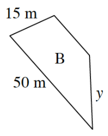 Large trapezoid, labeled B, with sides labeled as follows. Bottom side, 50 m, left side, 15 m, and right side, y.