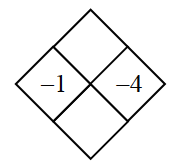 Diamond Problem. Left negative 1, Right negative 4, Top blank,  Bottom blank
