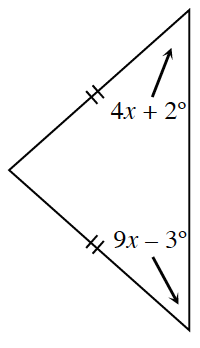 A triangle with two tick marks on two sides. The angle opposite one of the two tick mark sides is, 9 x minus 3 degrees and the other two tick mark side is, 4 x + 2 degrees.