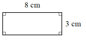 A rectangle with a length of 8 centimeters and a width of 3 centimeters.