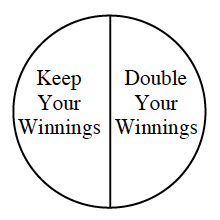 A spinner divided in half labeled as follows: Keep Your Winnings and Double Your Winnings.