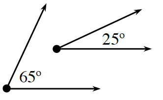Two non connected angles, labeled as follows: left, 65 degrees, right, 25 degrees.