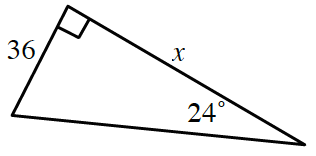 Right triangle, labeled as follows: vertical leg, x, horizontal leg, 36, angle opposite horizontal leg, 24 degrees.