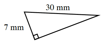 A right triangle labeled as follows: Leg, 7 mm, hypotenuse, 30 mm.