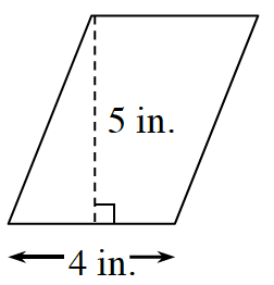A parallelogram, slanted right, with bottom side labeled, 4 in.  A right triangle is created by a dashed line segment of 5 in, drawn from the top left vertex, to the bottom side, at a 90 degree angle to the bottom.