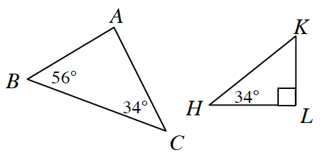 Larger triangle, A, B, C, with angles labeled as follows: b, 56 degrees, c, 34 degrees. Smaller triangle, H, K, L, with angles labeled as follows: h, 34 degrees, l, 90 degrees.