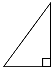 A right triangle oriented with the right angle at the bottom right.