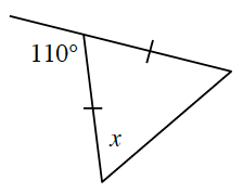 A triangle has two sides with 1 tick mark.  The angle between the two sides has one side extended forming an exterior angle, 110 degrees.  Another angle, x, is opposite a side with a tick mark.