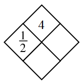 Diamond Problem. Left 1 divided by 2, Right blank, Top 4,  Bottom blank