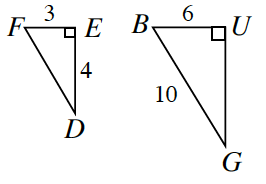 Two right triangles. First is Triangle F, E, D with legs F, E, = 3 and E, D = 4. Second is triangle B, U, G with side lengths 6 on side B, U, and 10 on side B, G, the hypotenuse.