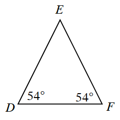 Triangle D, E, F, with angle, D, labeled 54 degrees, and angle, F, labeled 54 degrees.