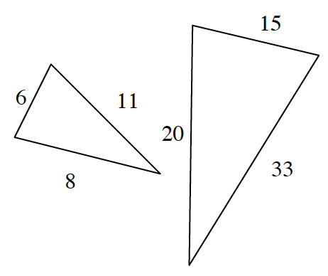 Two triangles.  The first triangle has sides labeled 11, 8 and 6.  The second triangle has sides labeled 15, 33 and 20.