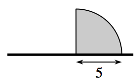 Horizontal segment, with shaded top right quarter of a circle, above the segment, with its radius, labeled 5, on the right third of the segment.
