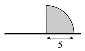 quarter circle on a horizontal pole radius 5