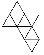 A net of 8 equilateral triangles alternating up & down to share a side, across rows, and between rows, arranged in 4 rows, with 4 possible positions from left to right as follows: Row 1: second, up, Row 2: first, up, second, down, third, up, fourth, down. Row 3: third, down, fourth, up. Row 4: fourth, down.