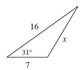 A triangle with side lengths x, 16, and 7 and one angle of 31 degrees opposite the side, x.