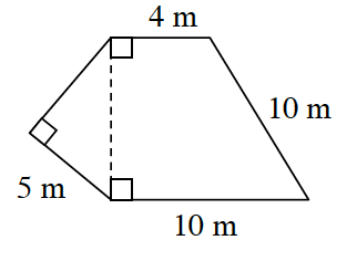 A right triangle connected by its hypotenuse to the left side of a right angle trapezoid. The bottom base of the right triangle is 5 meters.The top base of the trapezoid is 4 meters, the bottom base is 10 meters, and the right side is 10 meters.