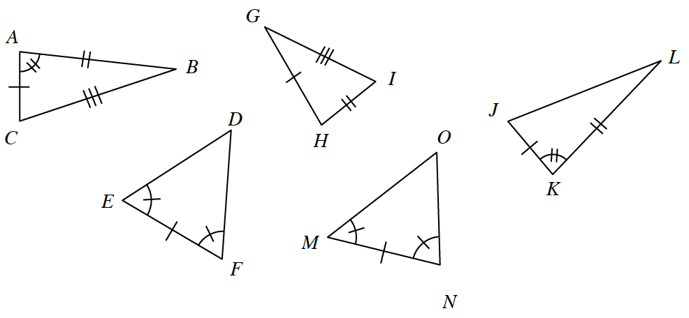 5 triangles, labeled as follows: side AC, 1 tick mark, side AB, 2 tick marks, side BC, 3 tick marks. Angle a, 2 tick marks. Side EF, 1 tick mark, angle e, 1 tick mark, angle f, 1 tick mark.  Side GH, 1 tick mark, Side IH, 2 tick marks, side, IG, 3 tick marks.  Side JK, 1 tick mark, side KL, 2 tick marks, angle K, 2 tick marks. Side MN, 1 tick mark, angle m, 1 tick mark, angle N, 1 tick mark.