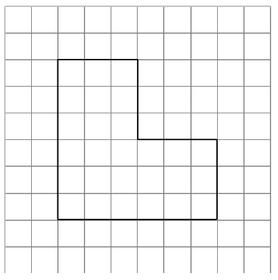 An enclosed figure, starting at the top left corner, right 3, down 3, right 3, down 3, left 6, up 6 to enclose the figure.