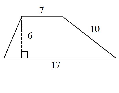 A trapezoid with bottom base 17 and top base 7, left side blank and right side 10. A right triangle is created by a line segment of drawn from the upper left vertex to the base at right angles.
