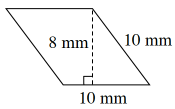 A parallelogram, slanted left,  with bottom and right sides, each labeled, 10 mm. A  right triangle is created by a line segment, labeled, 8 mm, drawn from the top right vertex, to the bottom side, at a 90 degree angle to the top.