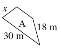 Small trapezoid, labeled A, in same orientation as B, sides labeled as follows: Bottom side, 30 m, left side, x, and right side, 18 m.