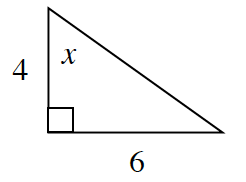 A right triangle with legs, 4, and, 6. Angle X is opposite side, 6.