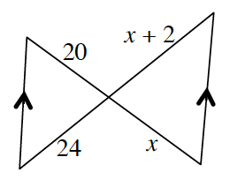 Two parallel line segments where opposite ends are connected by line segments, 20 + x, and, 24 + x + 2, forming 2 triangles. The sides of the parallel line segments are unknown. One triangle, has sides, 20, 24, and parallel segment, unknown.  The other triangle has sides, x + 2, and, x, with the parallel segment, unknown.