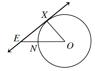 A line, e, x, is tangent to a circle, with center, o, and radius, o, x, at the point, x. Line segment, from, o, to, e, intersects the circle at point, n.