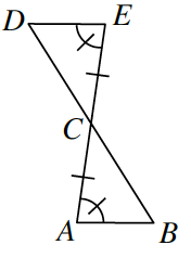 Two line segments D, B and A, E intersect at point, C. Two triangles are formed C, D, E and C, A, B.  Angle E and angle A are both marked with one tick mark. Side C, E and side C, A are both marked with one tick mark.