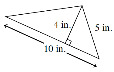 A triangle with a base of 10 inches, left side is unknown and right side is 5 inches.  Two internal triangles are created by a line segment of 4 inches drawn from the upper vertex to the base at right angles .