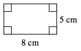 Rectángulo de 8 centímetros de ancho y 5 centímetros de longitud.