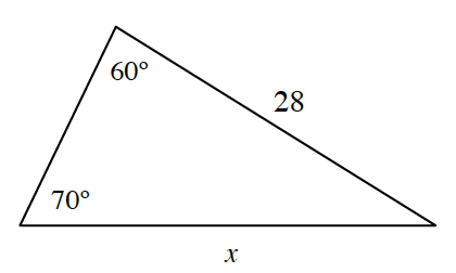 Acute triangle labeled as follows: right side, 28, bottom side, x, top angle, 60 degrees, bottom left angle, 70 degrees.