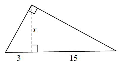 Right triangle, dashed segment, labeled x, from the right angle, perpendicular to the hypotenuse, dividing hypotenuse into 2 parts, left part labeled 3, right part labeled 15.