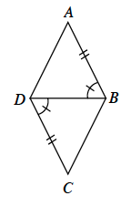 Quadrilateral, A,B,C,D with diagonal from vertex, D, to vertex, B, dividing it into 2 triangles, labeled as follows: side A,B, 2 tick marks, angle A,B,D, 1 tick mark, angle B,D,C, 1 tick mark, side, C,D, 2 tick marks.