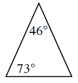 Triangle with angles 46 degrees and 73 degrees.